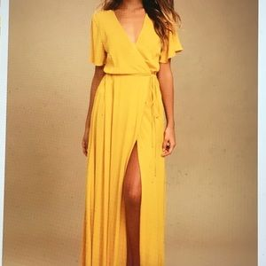 NWT Lulu's Yellow Wrap Maxi Dress